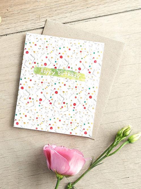 Happy birthday chamomile seeded card front, plastic free, zero waste bulk foods. horsham. sussex