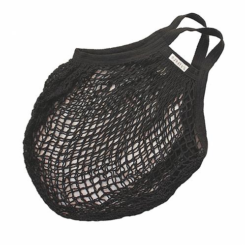 Organic black cotton string bag. zero waste bulk foods. plastic free. online. horsham. sussex