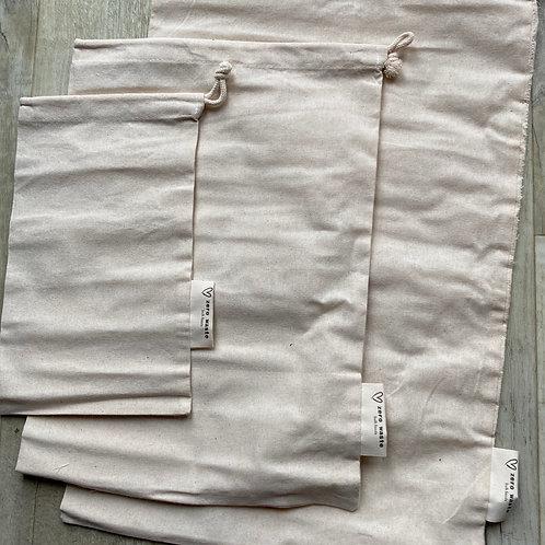 Organic cotton produce bags set of 3. zero waste bulk foods. plastic free. horsham,. dorking. sussex. surrey. online