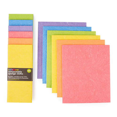 reusable compostable sponge cloth 6 pack rainbow colours. zero waste bulk foods. plastic free. online. horsham