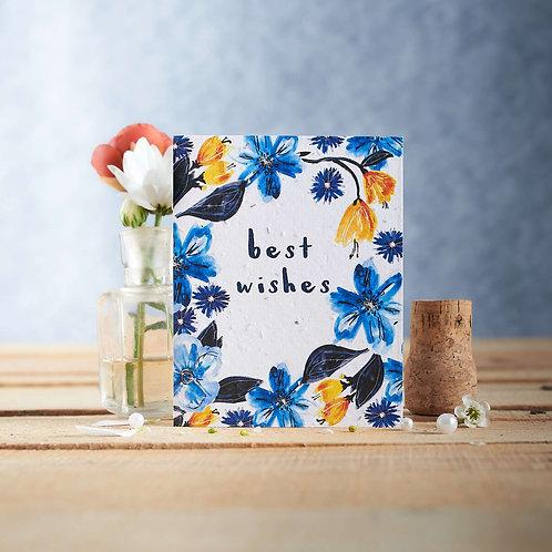 Best Wishes wildflower seeded card front, plastic free, zero waste bulk foods