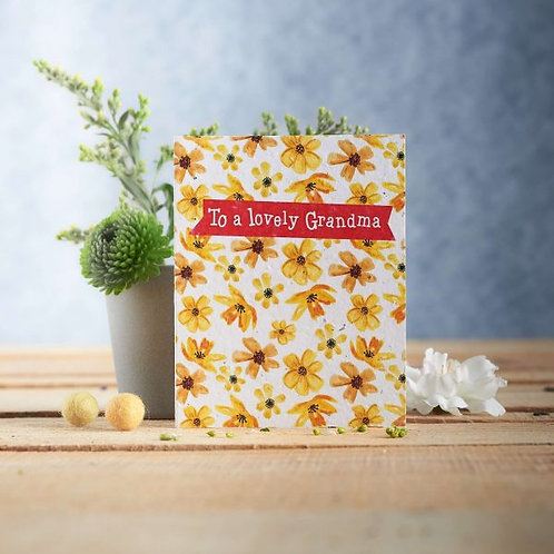 To a Lovely Grandma wildflower seeded card front, plastic free, zero waste bulk foods