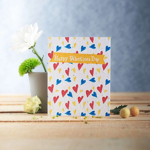 Happy Valentines Day wildflower seeded card front, plastic free, zero waste bulk foods