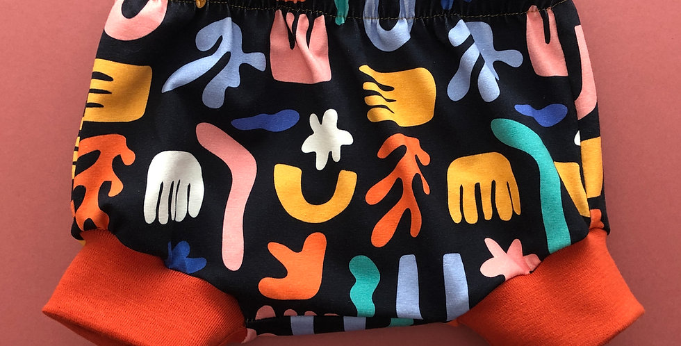 Shorts/ Bummies   Abstract Flora Shapes on Black Jersey