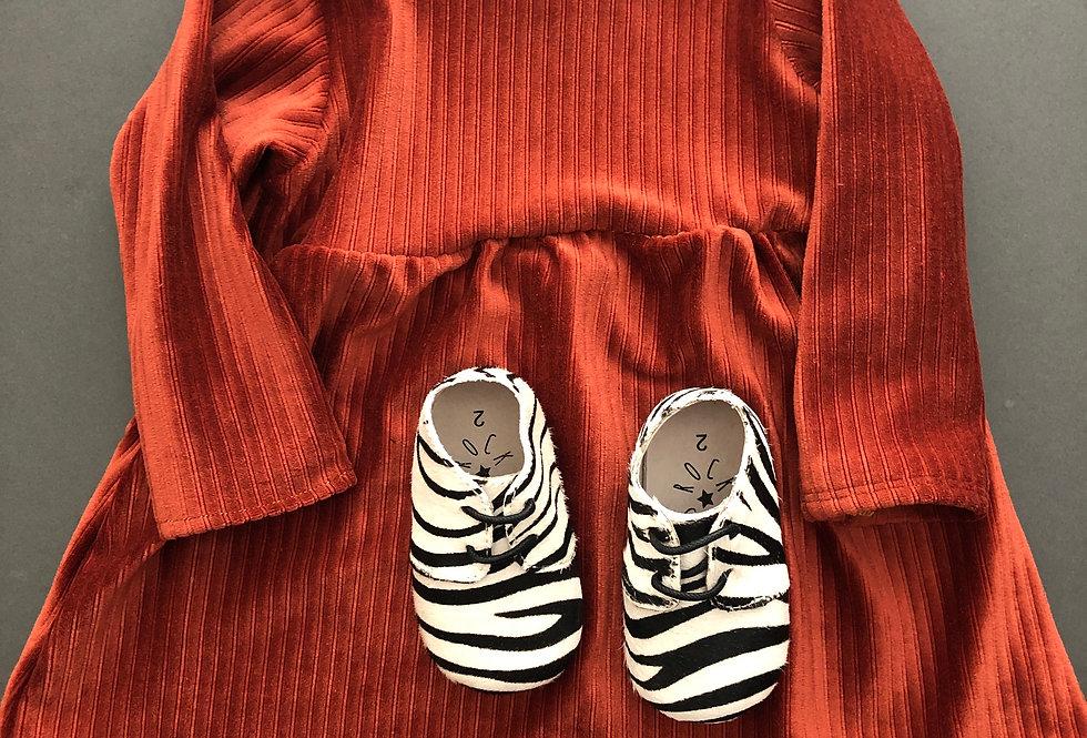 Corduroy jersey dress in terracotta