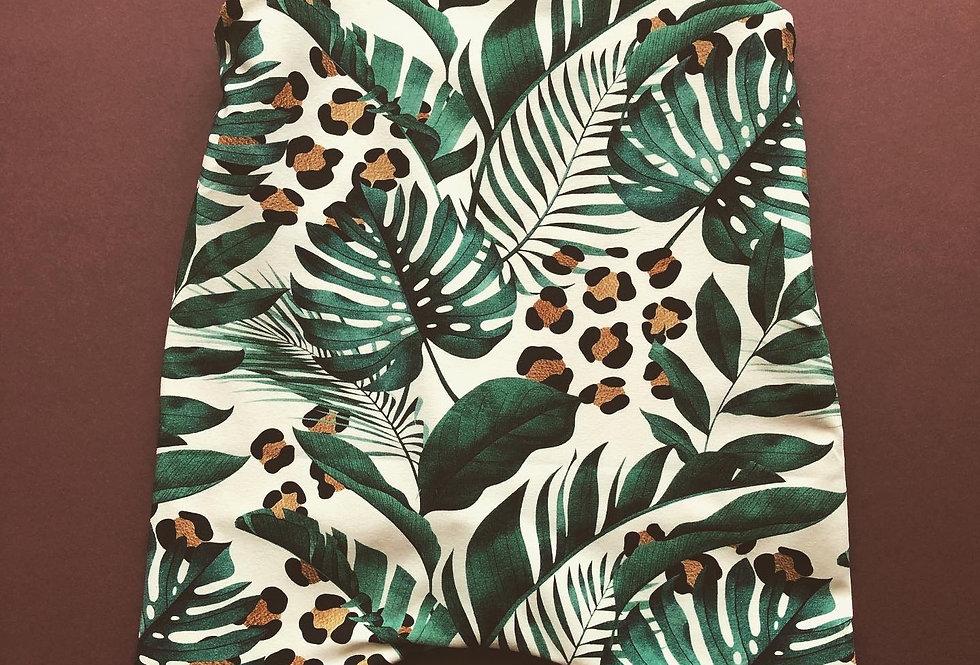 Monstera Leaf and Leopard Print Romper