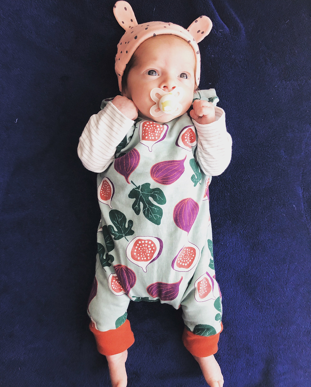 Baby romper figs autumnal rust colour mint emerald bunny ears