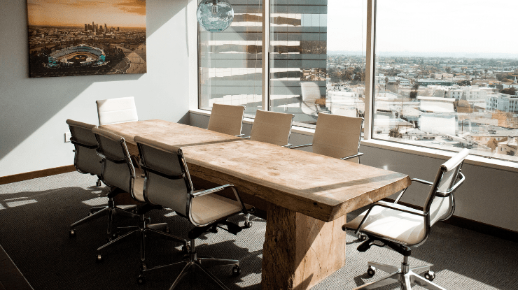 modern office meeting space with view across city