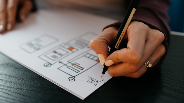 woman drawing marketing plan by hand