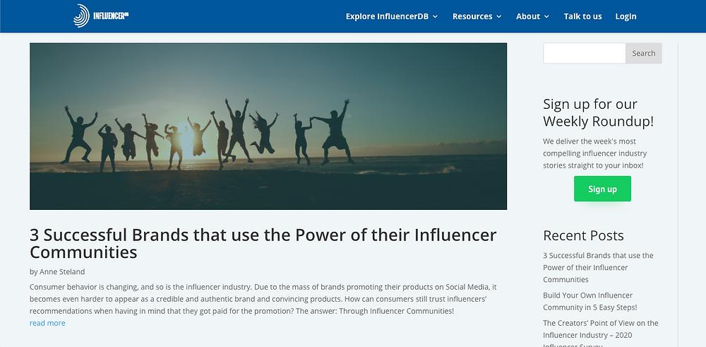 influencerdb blog page