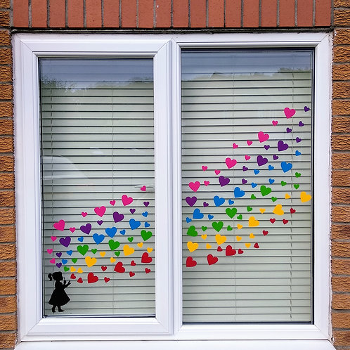 Rainbow hearts window stickers (126), Girl and Boy blowing hearts, Free Delivery