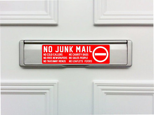 No Junk Mail Letterbox Front Door Sticker