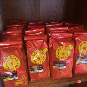 4 flavors in stock of local New Mexico Pinon Coffee