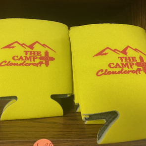 State Flag themed colors Koozie with Campground Logo.