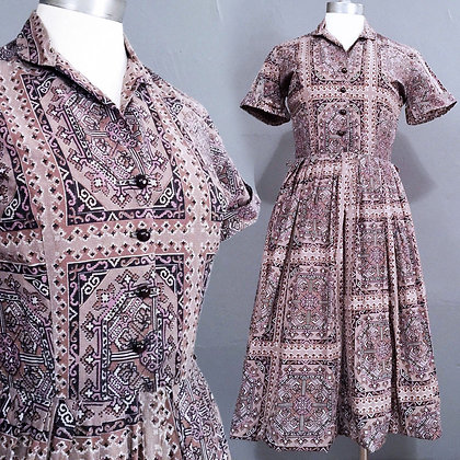 XS/S Vintage 50s Geometric Day Dress