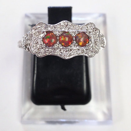 Size 7 • Red Opal & Sterling Silver Ring