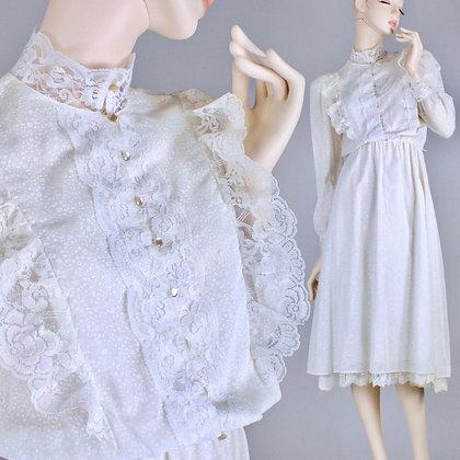 M/L Vintage 1970s White Lace Simple Modest Prairie Airy Midi Wedding Dress 70s
