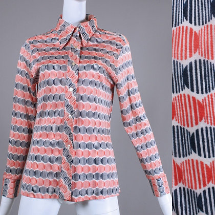 M Vintage 1970s Thin Nylon Op Art Button Up Shirt