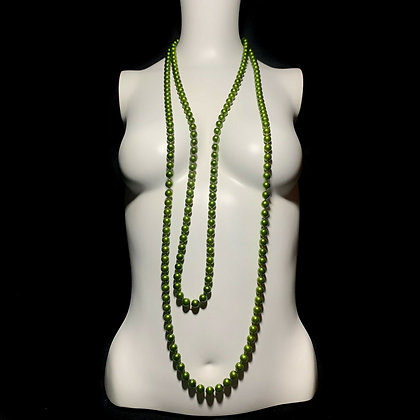 Vintage Green Beaded X-Long Flapper Necklace