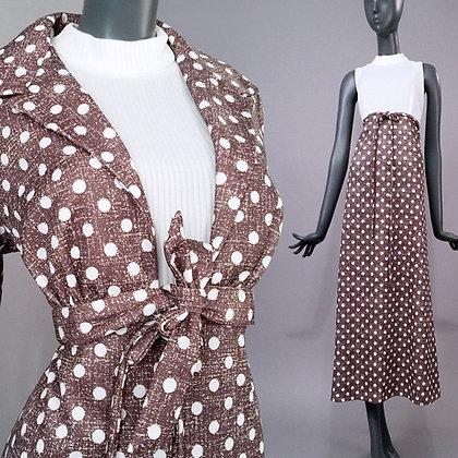 L Vintage 70s Two Piece Maxi Dress Set