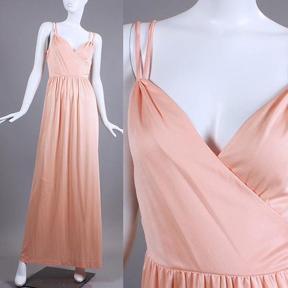 XS Vintage 1970s Silky Peach Evening Dress