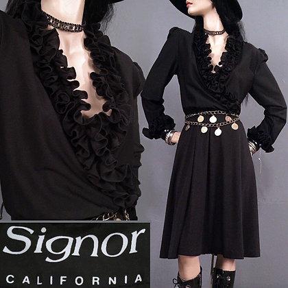 M/L Vintage 70s Goth Secretary Dress