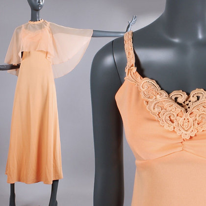 XS Vintage 1970s Peach Maxi Dress w/ Cape