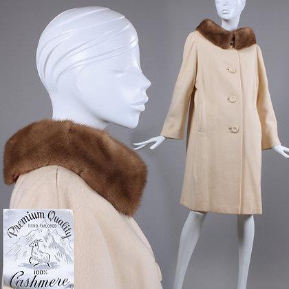 M/L Vintage 1960s Cream Cashmere Coat w/ Mink Fur