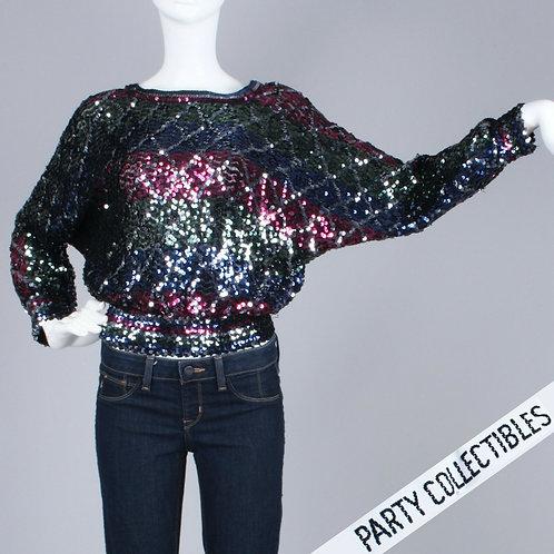 S/M Vintage 70s Sequin Batwing Shirt Crop Top