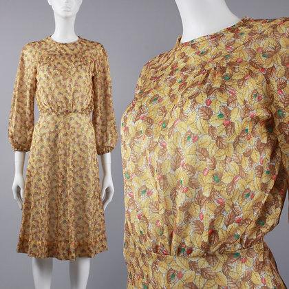 S/M Vintage 70s Fall Leaves Shimmery Sheer Dress