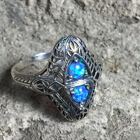Size 8 • Blue Opal Sterling Silver Ring