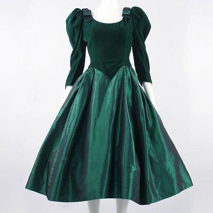 M Vintage 50s Changeable Taffeta Green Velvet Party Dress