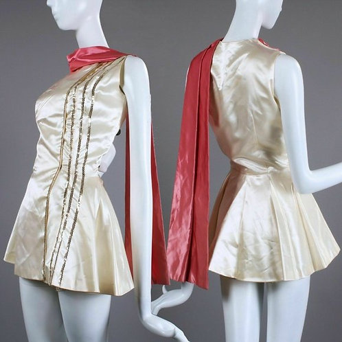 S Vintage 50s Satin Burlesque Pin Up Costume