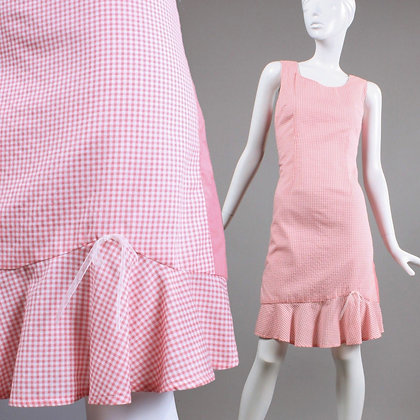 L Vintage 1960s Pink White Gingham Mini Dress