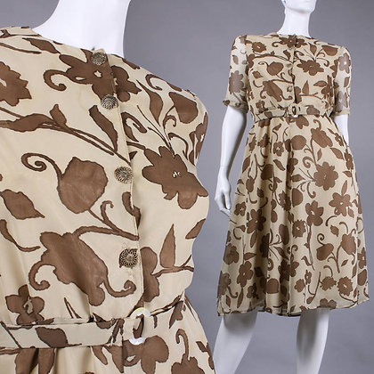 XL Vintage 1960s Brown Tan Floral Midi Fit Flare Day Dress