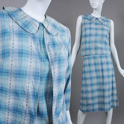 XS/S Vintage 1940s 3 Piece Cotton Skirt Suit Set