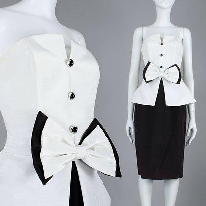 M 10 Vintage 1980s Jessica Howard Tuxedo Party Dress