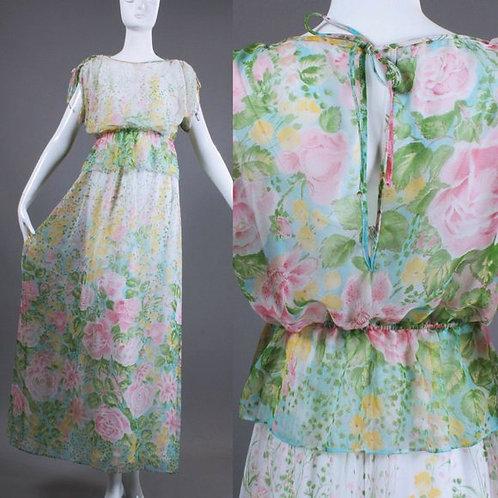 S/M Vintage 70s Floral Chiffon Maxi Dress