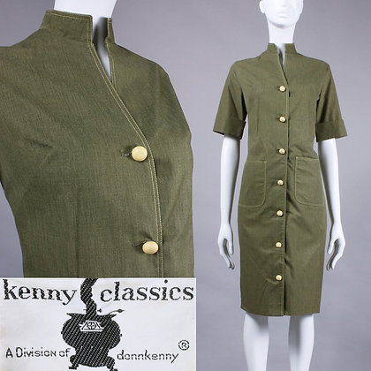 M Vintage 1960s Kenny Green Shift Dress