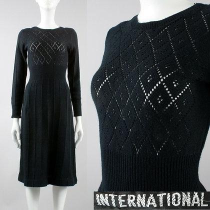 XS/S Vintage 1960s Black Petite Sheer Knit Sweater Dress