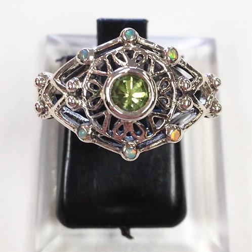 SIze 8 • Peridot + Opal Sterling Silver Ring