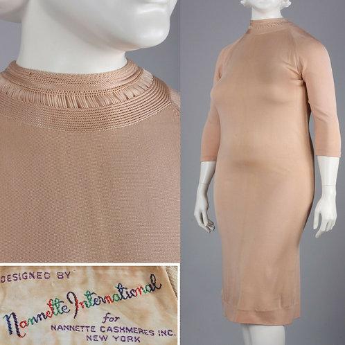 XXL Plus Vintage 60s Nude Wiggle Dress