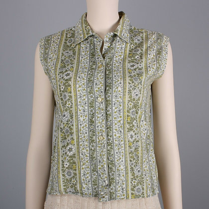 M/L Vintage 60s Green Casual Calico Shirt