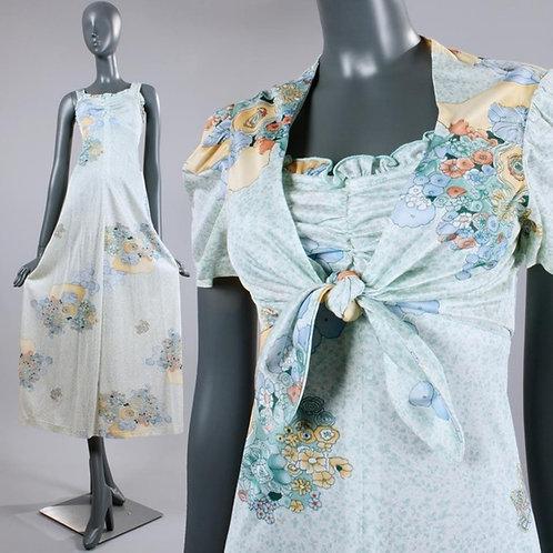 M/L Vintage 70s Green Floral Maxi Sun Dress Set