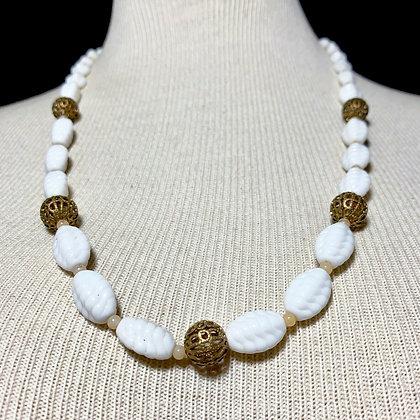 Antique Milk Glass Bead Necklace