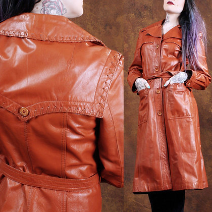M Vintage 1970s Leather Trench Coat