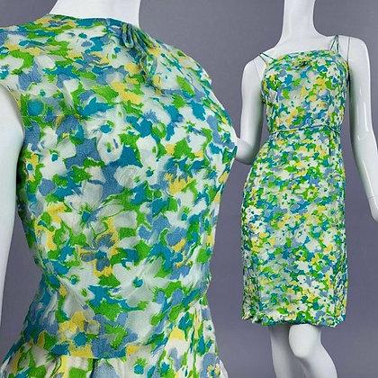 XS Vintage 50s Floral Pencil Dress + Bolero Set