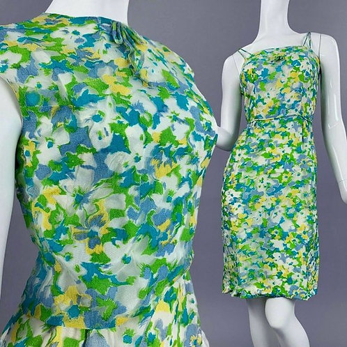 XS Vintage 50s Floral Pencil Dress + Bolero Set