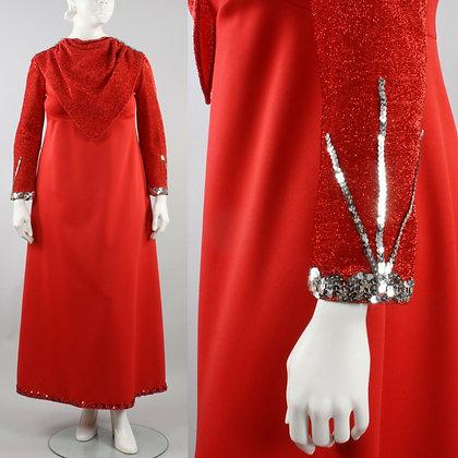 2XL Vintage 60s Red Sequin Cocktail Maxi Dress