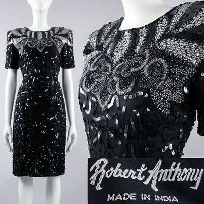 S/M 4 Vintage 80s Robert Anthony Black Silk Sequin Party Dress